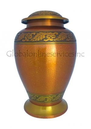 Bright Copper Leaf Large Cremation Urn for Human