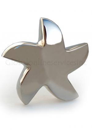 Bright Silver Star Mini Keepsake Funeral Urn for Human Ashes