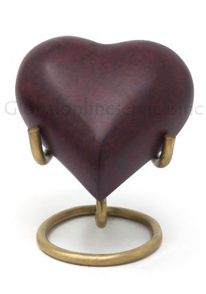 Brown Marble Heart Keepsake Brass Urn for Cremated Ashes