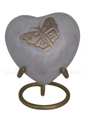 Burford Pearl Heart Keepsake Cremation Urn for Funeral Ashes