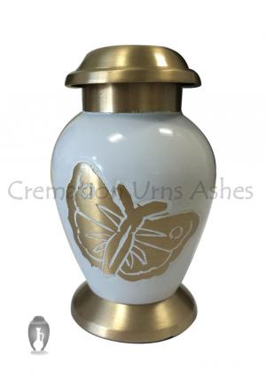 Burford Pearl & Butterfly Keepsake Cremation Urn For Human Ashes