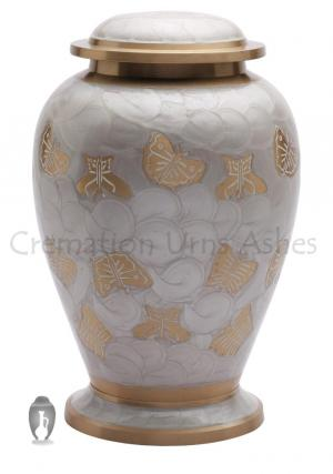 Butterflies Pearl White Adult Cremation Urn for Ashes