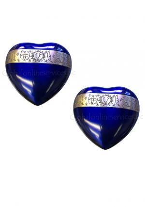 Pack Of Two Cambridge Blue Cremation Mini Heart Keepsake Urn for Ashes