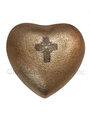 Celtic Cross Mini Heart Keepsake Memorial Urn for Human Ashes