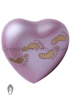 Child Paw Prints Sutton Rose Heart Keepsake Cremation Containers For Ashes