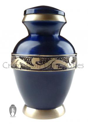 Classic Blue Memorial Keepsake Urn Ashes