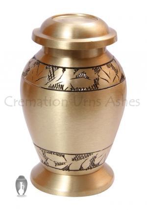 Classic Engraved Brushed Brass Mini Memorial Keepsake Urn