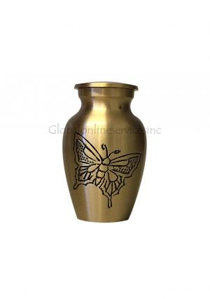 Classic Gold Colour Butterfly Keepsake Memorial Urn For Human Ashes