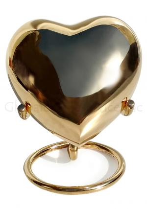 Classic Gold Colour Heart Keepsake Small Urn For Memorial Ashes