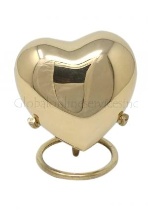Classic Gold Coloured Heart Keepsake Urn, Small Memorial Urns