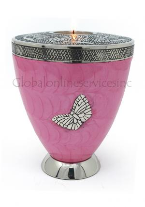 Classic Medium Tealight In Pink Color With Silver Butterfly Cremation Urn For Human Ashes