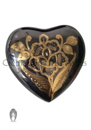 Classic Nickel Heart Shape Floral Keepsake Urn For Funeral Ashes