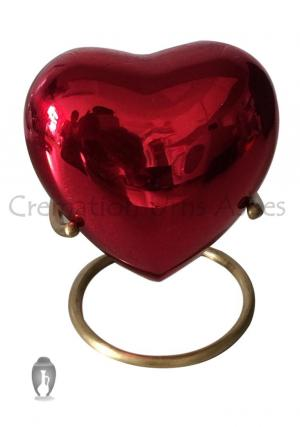 Classic Red Heart Keepsake Memorial Small Container for Human Ashes