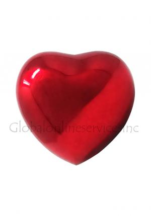 Classic Red Heart Keepsake Urn for Ashes, Memorial Heart Keepsake