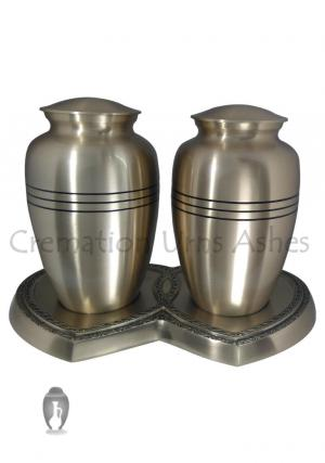 Classic Three Bands Companion Cremation Urn Set
