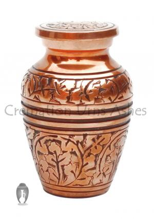Copper Finish Hand Engraved Keepsake Urn