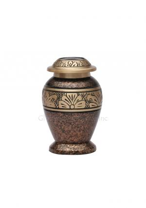 Copper Marble Flower Brass Small Keepsake Urn for Memorial Ashes