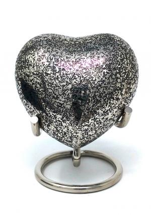 Cremation Urns Brass Funeral Urn Ashes, Glenwood Small Heart Keepsake Urn with Stand (Black)