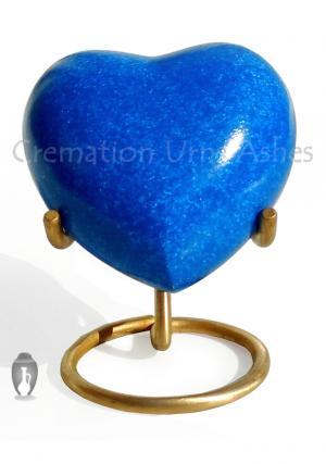 Crystal Blue Heart Keepsake Urn for Memorial Ashes, Small Brass Keepsake Urn