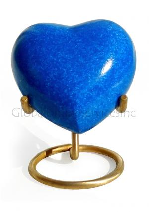 Crystal Blue Heart Keepsake Urn for Memorial Ashes, Small Brass Keepsake Urn