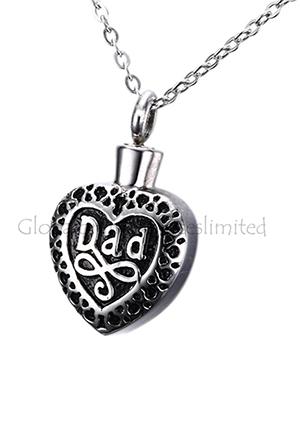 Dad Heart Shape Cremation Jewellery Pendant