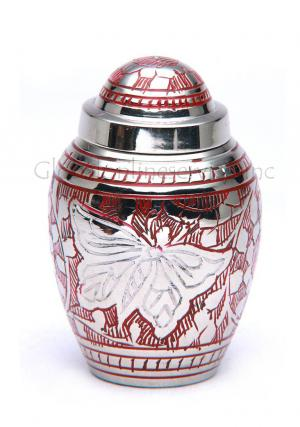 Dome Top Butterfly Engraved Red Keepsake Memorial Urn for Ashes