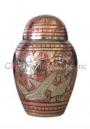 Dome Top Going Home Red Swirl Mini Keepsake Cremation Urn for Ashes