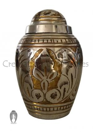 Dome Top Gold Color Leaf Keepsake Urn for Human Funeral Ashes