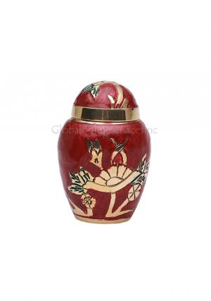 Dome Top Gold Flower Embossed Keepsake Urn for Memorial Ashes