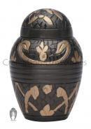 Dome Top Windsor Black Floral Keepsake Small Cremation Urn for Human Ashes