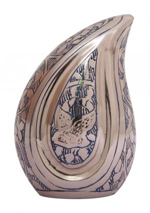 Doves Going Home Blue Small Teardrop Funeral Urn for Ashes