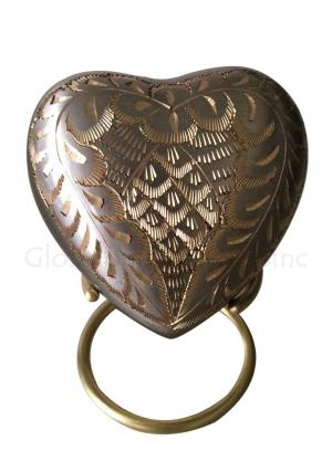 Mini Memorial Urn Ashes, Elegance Platinum Heart Keepsake with Stand and Velvet Box
