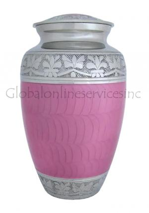 Elegant Pink Enamel And Nickel Adult Cremation Urn Ashes