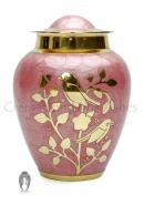 Embossed Blessing Birds Medium Urn For Cremation Ashes In Pink With Gold Finish