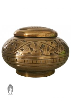 Enchanted Vines Brass Small Keepsake Cremation Urn for Human Ashes