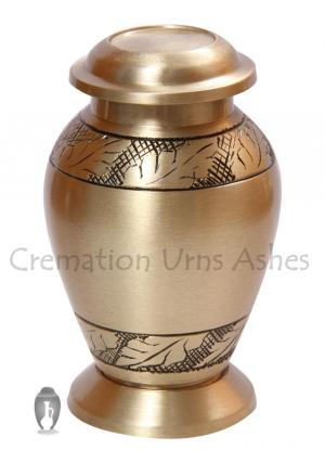 Engraved Band of Leaves Small Keepsake Urn For Memorial Ashes