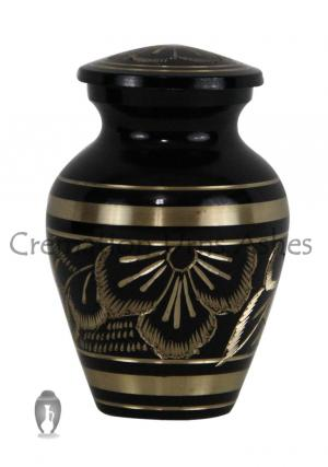 Engraved Black with Golden Floral Keepsake Urn for Memorial Ashes