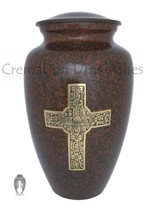 Engraved Golden Cross Adult Urn For Cremation Ashes
