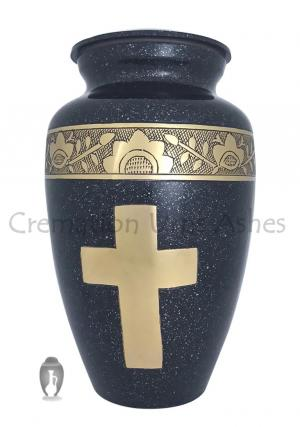 Engraved Golden Cross Black Adult Urn For Human Ashes