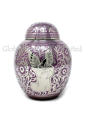 Engraved Mauve Angel Infant Child Memorial Urn - Baby Brass Cremation Urn for Ashes