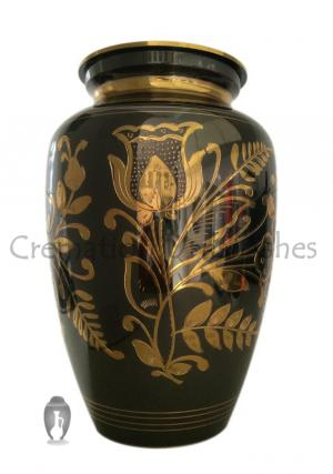 Extra Large Classic Black Nickel Adult Floral Urn for Memorial Ashes