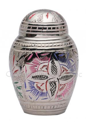 Farnham Pink Flower Engraved Dome Keepsake Cremation Urn for Human Ashes