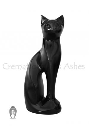 Figurine Sitting Black Cat Urn For funeral Ashes