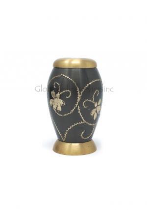 Flat Top Floral Keepsake Urn for Human Memorial Ashes.