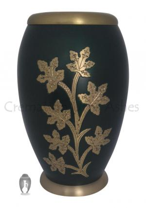 Flat Top Ivy Golden Leaves Adult Urn For Human Ashes