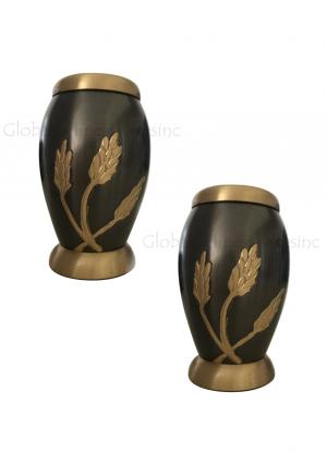 Pack Of Two Flat Top Monarch Wheat Keepsake Urn for Human Memorial Ashes