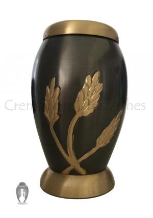 Flat Top Monarch Wheat Keepsake Urn for Human Memorial Ashes