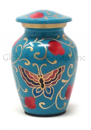 Floral Butterfly Brass Keepsake Urn for Cremation Ashes