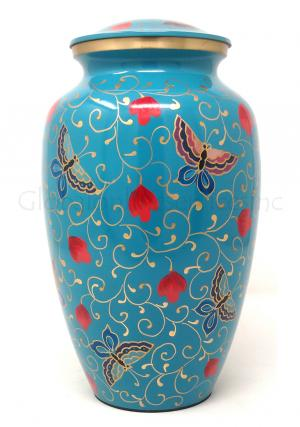 Large Floral Butterfly Brass Urn for Cremation Ashes