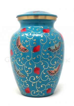 Floral Butterflies Medium Brass Cremation Urn for Ashes